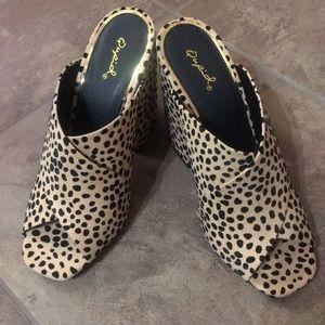 Qupid Leopard Mule Heels - New